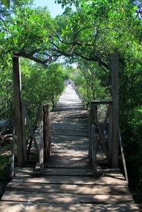 A ponte que liga a praia à Cabinas Las Olas